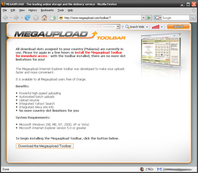 megaupload toolbar