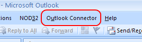Outlook Connector in the menu bar