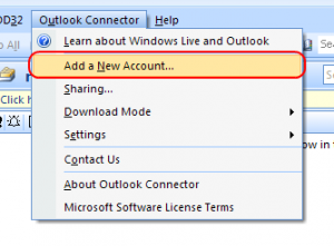 Outlook Connector - Add a New Account