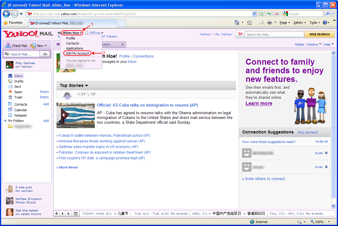 Step 1: Login into your web Yahoo! Mail. Click on your Display Name ...