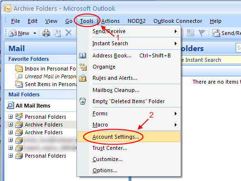 Go to Tools -> Account Settings