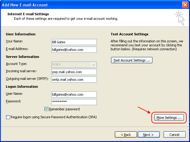 Fill account details and click 'More Settings...'