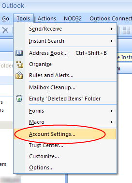 In Outlook menu bar, select Tools -> Account Settings.