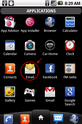 Open the android email app