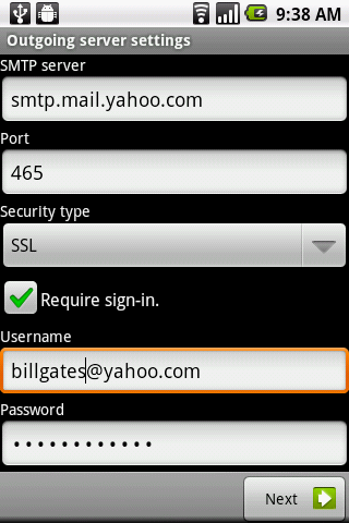 Enter Yahoo! Mail SMTP server details