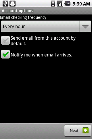 Select your email checking frequency